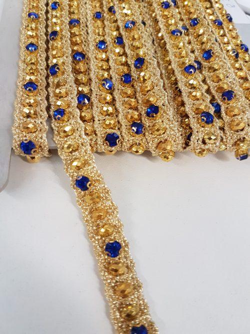 Parelband goud met blauwe steentjes