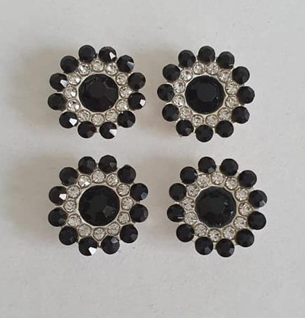 Strass steentjes zwart-zilver