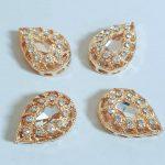 Luxe steentjes amandel goud 14 mm